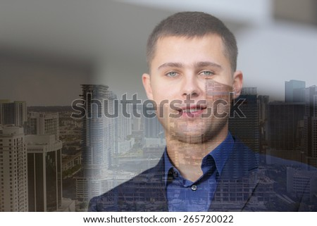 Businessman and city double exposure - stock photo