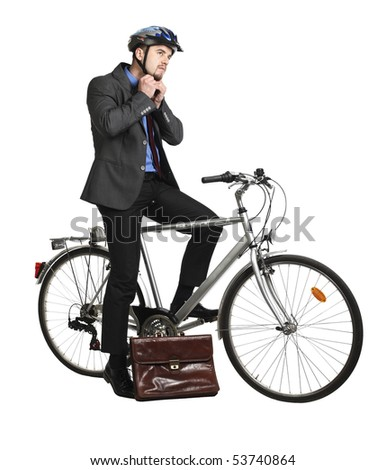 businessman and classic bicycle isolated on white - stock photo