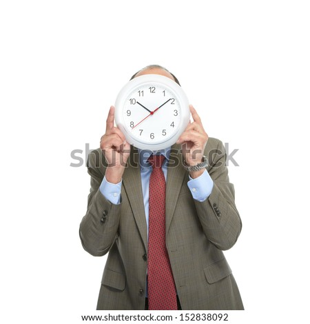 Businessman and clock on a white background