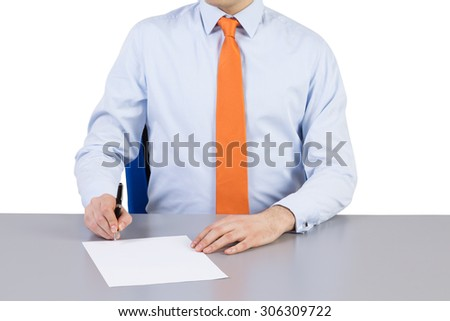 Businessman and contract signing process. Isolated on the white background. - stock photo
