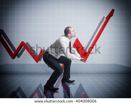 businessman and 3d abstract graphic chart - stock photo