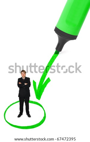 Businessman and diagram isolated on white background - stock photo