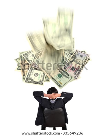 businessman and dollar banknote