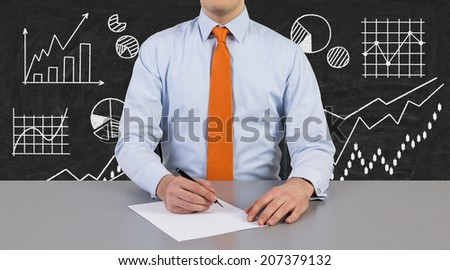 Businessman and drafting process of business plan.Flow chart background.  - stock photo
