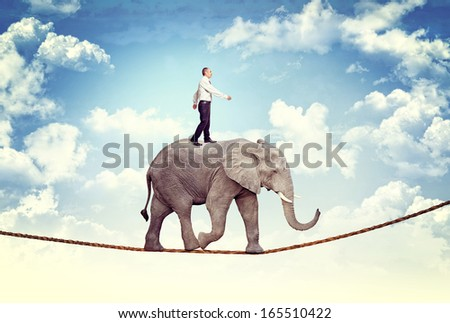 businessman and elephant on rope