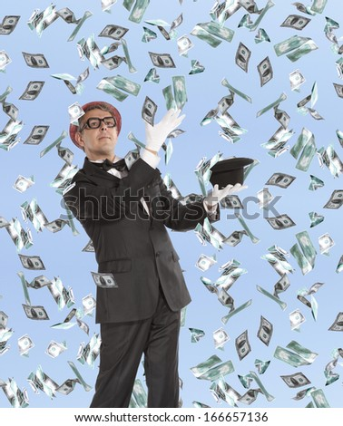 Businessman and flying dollar banknotes against blue sky - stock photo