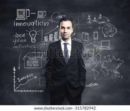 businessman and global business concept - stock photo