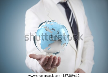 businessman and globe world map. travel and networking concept - stock photo