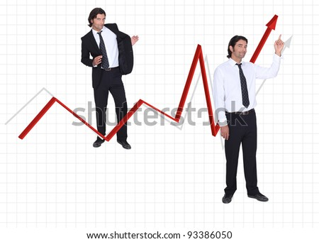 Businessman and growing arrow on white background - stock photo