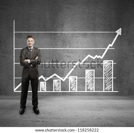 businessman and  growth chart on wall