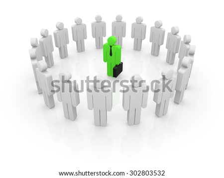 Businessman and leader , This is a computer generated and 3d rendered picture. - stock photo