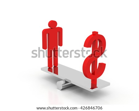 Businessman and Question Mark Balancing on a Seesaw - Balance Concept - High Quality 3D Render - stock photo