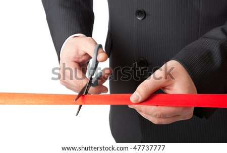Businessman and red ribbon - stock photo