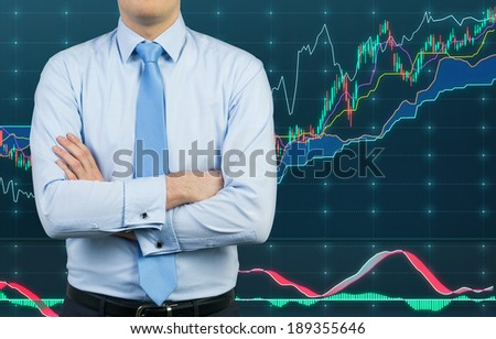 Businessman and rising stock market 2  - stock photo