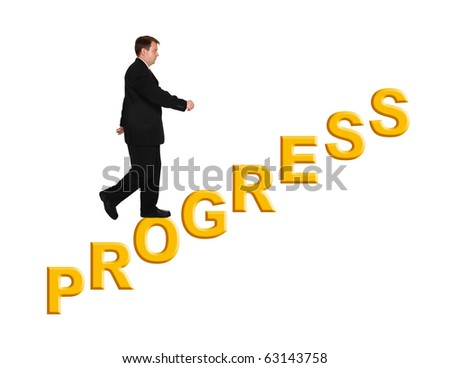 Businessman and stairs Progress isolated on white background - stock photo