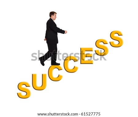 Businessman and stairs Success isolated on white background - stock photo