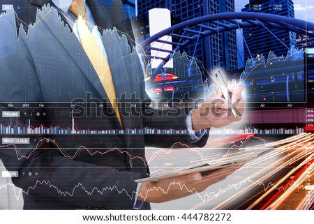 businessman and Stock market. - stock photo