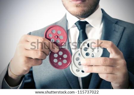 Businessman and teamwork concept - stock photo