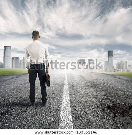 businessman and the way for the future - stock photo