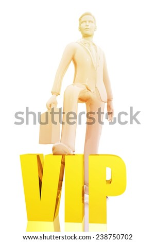 Businessman and vip symbol - stock photo
