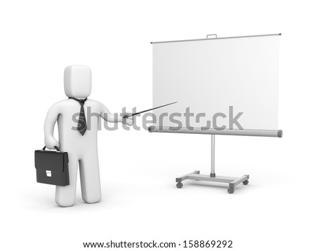 Businessman and whiteboard - stock photo