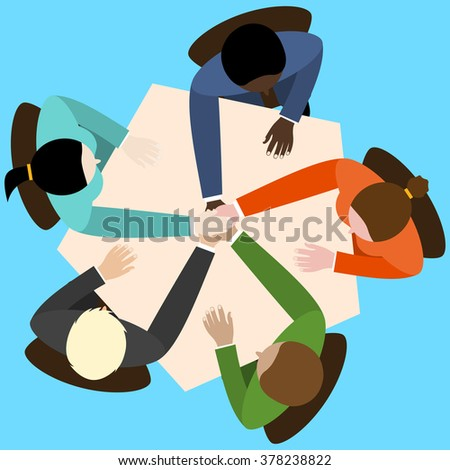 businessman and woman join hands by touching top of each other sitting at the office table. Top view. flat design for business web infographic concept.  Raster version - stock photo