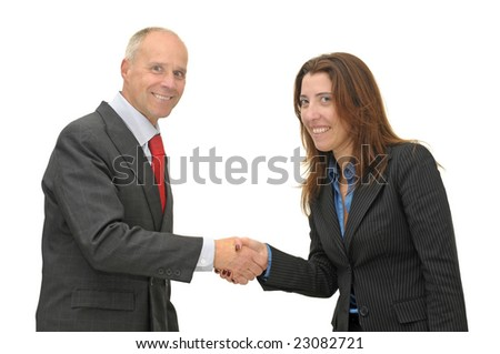 Businessman and woman shaking hands isolated against a white background