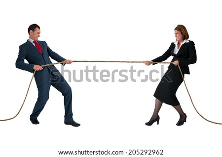 businessman and woman tug of war rivalry concept isolated on white - stock photo