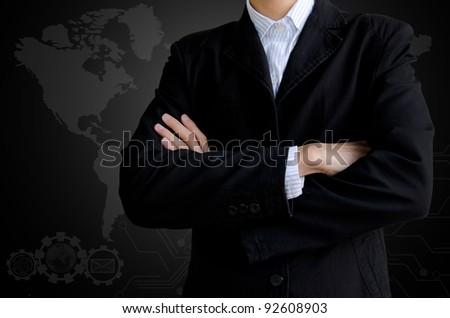 Businessman and world background - stock photo