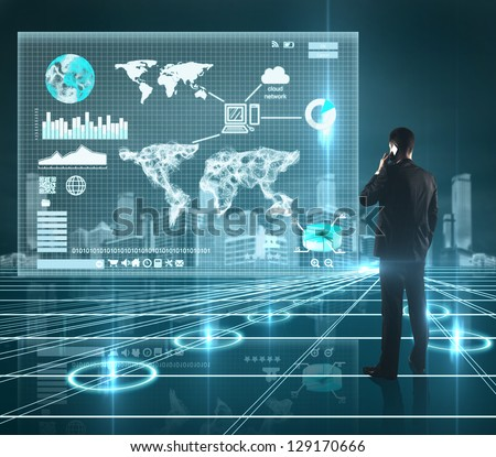 businessman and world map on interface screen - stock photo