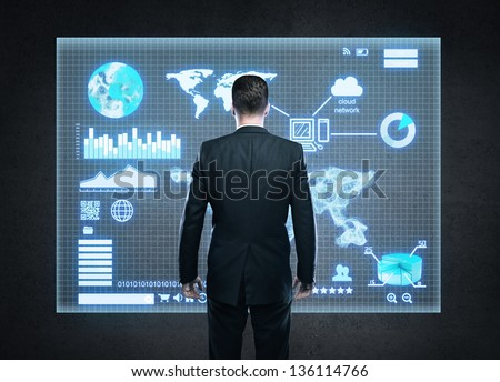 businessman and world map on interface screen