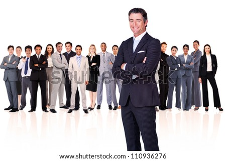 Businessman arms crossed against a white background - stock photo