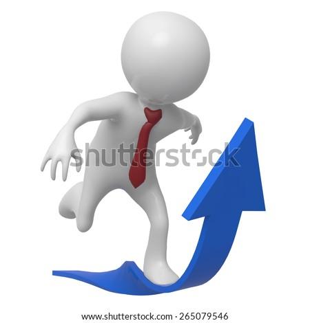 businessman arrow up - stock photo