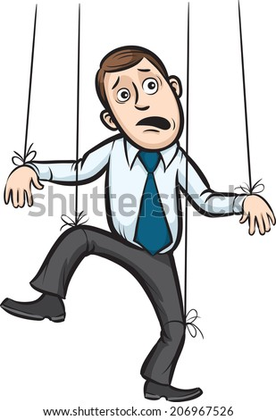 businessman as a puppet on strings on white background - stock photo