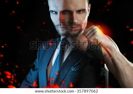 Businessman as an athlete fighter, alter ego strong businessman - stock photo