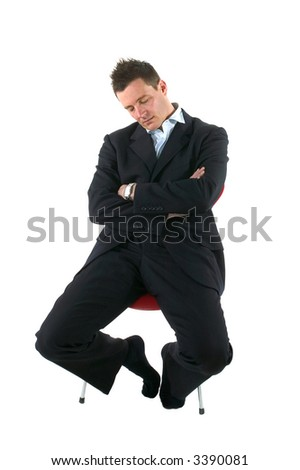 Businessman asleep on a chair, isolated on white. Who hasn't done this in a meeting!