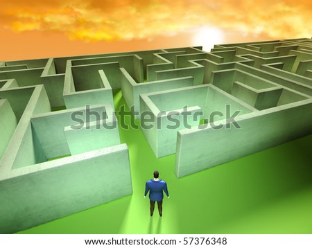 Businessman at the entrance of a labyrinth. Digital illustration.