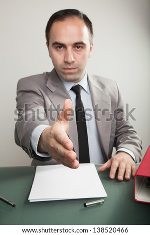 Businessman at the office - stock photo