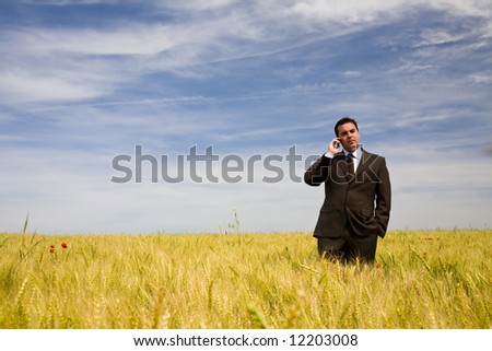 businessman at the phone in the field under blue sky - stock photo