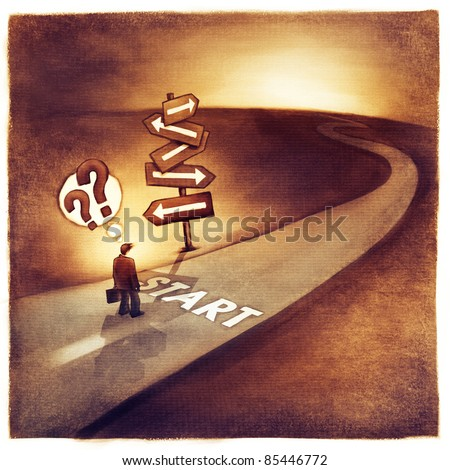 businessman at the start of his journey making difficult decision which way to go (loose artistic painting)