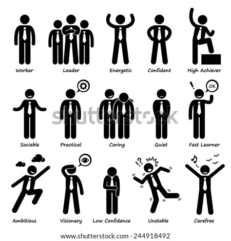 Businessman Attitude Personalities Characters Stick Figure Pictogram Icons - stock photo