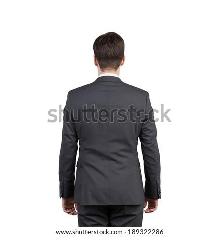 Businessman, back. Isolated. - stock photo