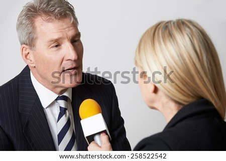 Businessman Being Interviewed By Female Journalist With Microphone - stock photo
