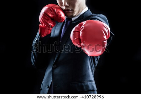 Businessman , boxing gloves , straight
