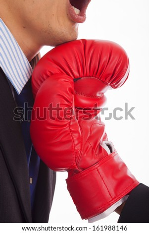 Businessman Boxing on a white background.