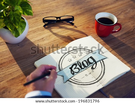 Businessman Brainstorming About Blogging - stock photo