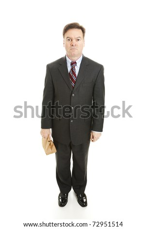 Businessman brings his lunch to work in a brown paper bag.  Full body isolated on white. - stock photo