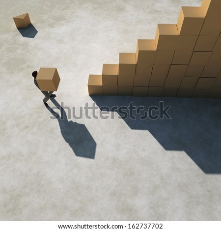 businessman builds a stairs - stock photo