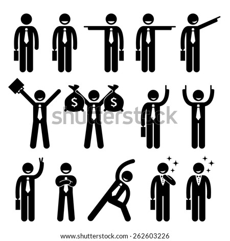Businessman Business Man Happy Action Poses Stick Figure Pictogram Icon - stock photo