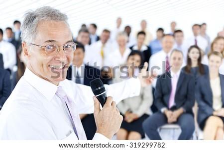 Businessman Business Presentation Speech Speaker Group Crowd - stock photo